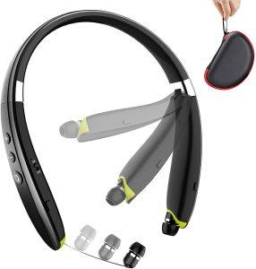 BEARTWO Upgraded Foldable Wireless Neckband Headset